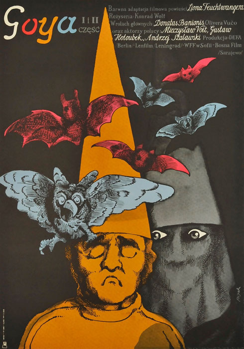 """Oryginalny polski plakat filmowy do niemieckiego filmu """"Goya"""". Reżyseria: Konrad Wolf. Projekt plakatu: JERZY FLISAK"""
