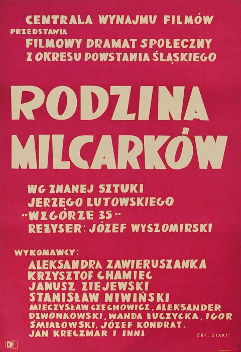 """Oryginalny polski plakat filmowy do polskiego filmu """"Rodzina Milcarków"""". Reżyseria: Józef Wyszomirski. Projekt plakatu:  Irena Janczewska (?)"""