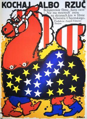 """Oryginalny polski plakat filmowy do polskiego filmu """"Kochaj albo rzuć"""". Reżyseria: Sylwester Chęciński. Projekt plakatu: JAKUB EROL"""