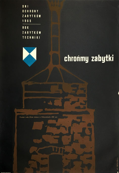 """Oryginalny polski plakat """"Chrońmy zabytki"""". Projekt plakatu: JERZY TREUTLER"""
