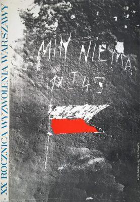 """Oryginalny polski plakat """"XX rocznica wyzwolenia Warszawy. 17 I 1945. Min nie ma"""". Projekt plakatu: ZENON JANUSZEWSKI"""