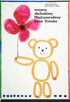 """Oryginalny polski plakat """"Wszyscy obchodzimy Międzynarodowy Dzień Dziecka"""". Projekt plakatu: HUBERT HILSCHER"""