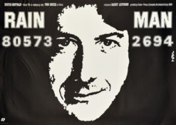 """Oryginalny polski plakat filmowy do amerykańskiego filmu """"Rain man"""". Reżyseria: Barry Levinson. Projekt plakatu: JAKUB EROL"""