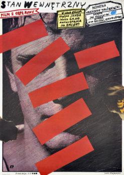 """Oryginalny polski plakat filmowy do polskiego filmu """"Stan wewnętrzny"""". Reżyseria: Krzysztof Tchórzewski. Projekt plakatu: LECH MAJEWSKI"""