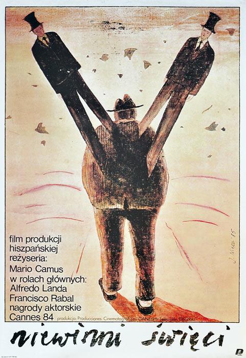 """Oryginalny polski plakat filmowy do hiszpańskiego filmu """"Niewinni święci"""". Reżyseria: Mario Camus. Projekt plakatu: JAIME CARLOS NIETO"""