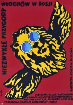 """Oryginalny polski plakat filmowy do włosko-radzieckiego filmu """"Niezwykłe przygody Włochów w Rosji"""". Reżyseria: Franco Prosperi"""