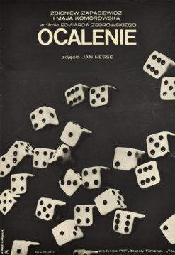 """Oryginalny polski plakat filmowy do polskiego filmu """"Ocalenie"""". Reżyseria: Edward Żebrowski. Projekt plakatu: ANDRZEJ KRAUZE"""