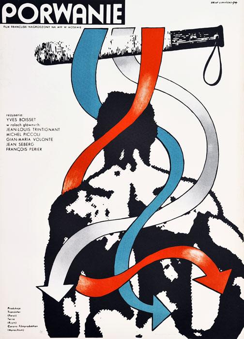 """Oryginalny polski plakat filmowy do francuskiego filmu """"Porwanie"""". Reżyseria: Yves Boisset. Projekt plakatu: ERYK LIPIŃSKI"""