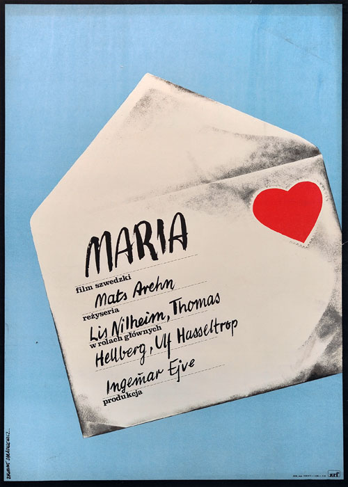 """Oryginalny polski plakat filmowy do szwedzkiego filmu """"Maria"""". Reżyseria: Mats Arehn Projekt plakatu: ZYGMUNT ZARADKIEWICZ"""