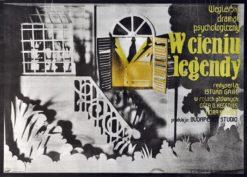 """Oryginalny polski plakat filmowy do węgierskiego filmu """"W cieniu legendy"""". Reżyseria: Istvan Gaal. Projekt plakatu: CYPRIAN KOŚCIELNIAK"""