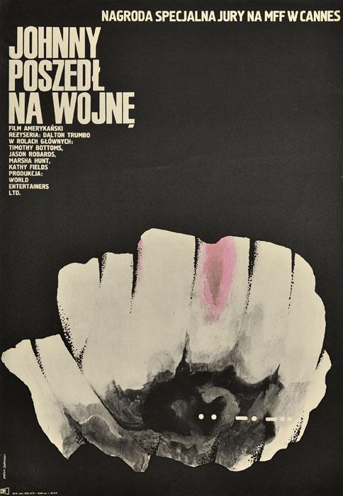 """Oryginalny polski plakat filmowy do amerykańskiego filmu """"Johnny poszedł na wojnę"""". Reżyseria: Dalton Trumbo. Projekt plakatu: ANDRZEJ ONEGIN - DĄBROWSKI"""