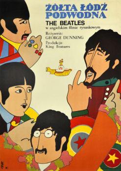 """Oryginalny polski plakat filmowy do angielskiego filmu """"Żółta łódź podwodna"""" z zespołem The Beatles. Reżyseria: George Dunning. Projekt plakatu: ZYGMUNT BOBROWSKI"""