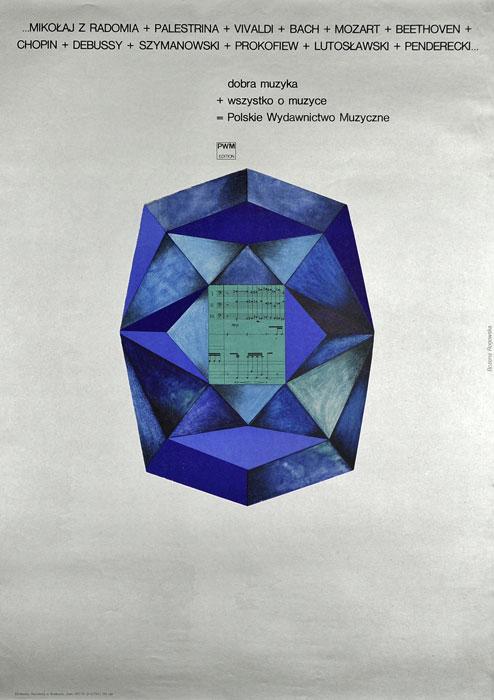 Oryginalny polski plakat reklamujący Polskie Wydawnictwo Muzyczne wydany w 1970 r. w nakładzie 700 szt. Projekt plakatu: BOŻENA ROGOWSKA
