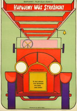 """Oryginalny polski plakat filmowy do niemieckiego filmu """"Kupujemy wóz strażacki"""". Reżyseria: Hans Kratzert. Projekt: JACEK NEUGEBAUER"""