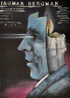 """Oryginalny polski plakat  """"Ingmar Bergman - przeglad filmów"""" Warszawa - Kraków - Gdańsk"""