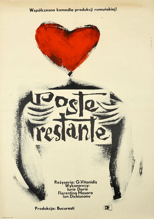 "Oryginalny polski plakat filmowy do rumuńskiego filmu ""Poste restante"". Reżyseria: Gheorghe Vitanidis. Projekt plakatu: ROMAN OPAŁKA"