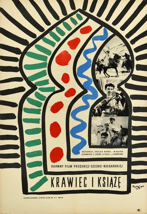 """Oryginalny polski plakat filmowy do filmu czesko-bułgarskiego """"Krawiec i książę"""". Reżyseria: Vaclav Krska. Projekt: WOJCIECH FANGOR"""