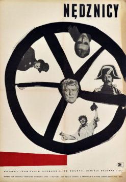 """Oryginalny polski plakat filmowy do filmu """"Nędznicy"""". Reżyseria: Jean-Paul Le Chanois. Projekt: WOJCIECH FANGOR"""
