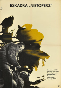 """Oryginalny polski plakat filmowy do filmu niemieckiego """"Eskadra """"Nietoperz"""""""". Reżyseria: Erich Engel. Projekt: WOJCIECH FANGOR"""
