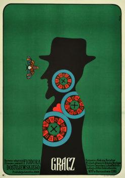 """Oryginalny polski plakat filmowy do czechosłowacko-radzieckiego filmu """"Gracz"""". Reżyseria: Aleksey Batalov. Projekt plakatu: JERZY FLISAK"""