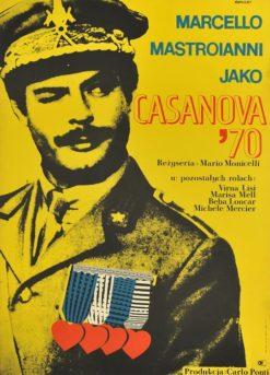 """Oryginalny polski plakat filmowy do włoskiego filmu """"Casanova '70"""". Reżyseria: Mario Monicelli. Projekt: JANUSZ RAPNICKI"""