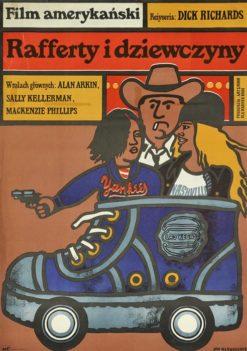 """Oryginalny polski plakat filmowy do amerykańskiego filmu """"Rafferty i dziewczyny"""". Reżyseria: Richard Dicks. Projekt plakatu: JAN MŁODOŻENIEC"""
