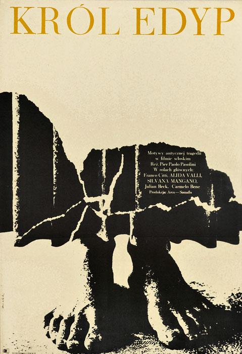 """Oryginalny polski plakat filmowy do włoskiego filmu """"Król Edyp"""". Reżyseria: Paolo Pasolini. Projekt: BRONISŁAW ZELEK"""