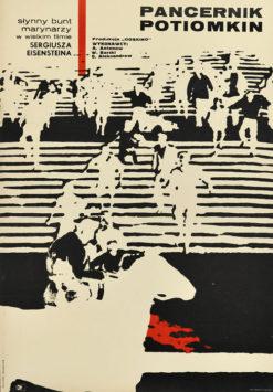 """Oryginalny polski plakat filmowy do radzieckiego filmu """"Pancernik Potiomkin"""". Reżyseria: Sergiusz Eisenstein. Projekt: STANISŁAW ZAMECZNIK"""