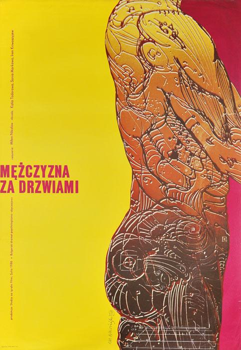 """Oryginalny polski plakat filmowy do bułgarskiego filmu """"Mężczyzna za drzwiami"""". Reżyseria: Milen Nikolov. Projekt plakatu: MARIAN NOWIŃSKI"""