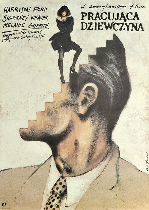 """Oryginalny polski plakat filmowy do amerykańskiego filmu """"Pracująca dziewczyna"""". Reżyseria: Mike Nichols. Projekt: ANDRZEJ PĄGOWSKI"""