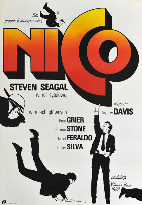 """Oryginalny polski plakat filmowy do amerykańskiego filmu """"Nico"""". Reżyseria: Andrew Davis. Projekt: MACIEJ KAŁKUS"""