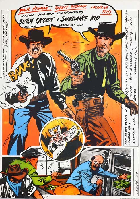 """Oryginalny polski plakat filmowy do amerykańskiego westernu """"Butch Cassidy i Sundance Kid"""". Reżyseria: George Roy Hill. Projekt: ANDRZEJ PĄGOWSKI"""