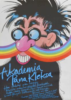 """Oryginalny polski plakat filmowy do polskiego filmu dla dzieci i młodzieży """"Akademia Pana Kleksa"""". Reżyseria: Krzysztof Gradowski. Projekt plakatu: EDWARD LUTCZYN"""