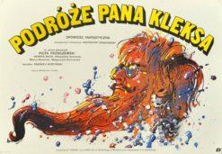 """Oryginalny polski plakat filmowy do filmu polskiego """"Podróże Pana Kleksa"""". Reżyseria: Krzysztof Gradowski. Projekt WALDEMAR ŚWIERZY"""