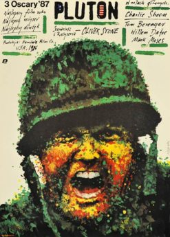 """Oryginalny polski plakat filmowy do amerykańskiego filmu """"Pluton"""". Reżyseria: Oliver Stone. Projekt plakatu: ANDRZEJ PĄGOWSKI"""