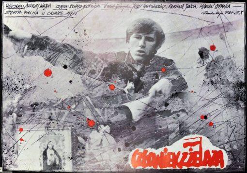 """Oryginalny polski plakat filmowy do filmu polskiego """"Człowiek z żelaza"""""""