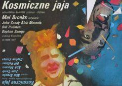 """Oryginalny polski plakat filmowy do amerykańskiego filmu """"Kosmiczne jaja"""". Reżyseria: Mel Brooks. Projekt: MACIEJ BUSZEWICZ"""