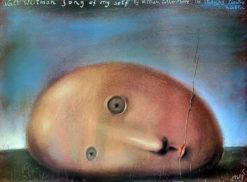 """Oryginalny polski teatralny plakat wystawowy """"Song of Myself"""" Walta Whitmana w Teatrze Studyjnym w Lublinie. Projekt plakatu: STASYS EIDRIGEVICIUS"""