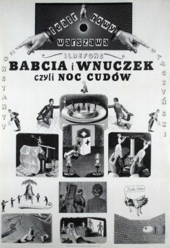 """Oryginalny polski plakat teatralny """"Babcia i wnuczek czyli noc cudów"""""""