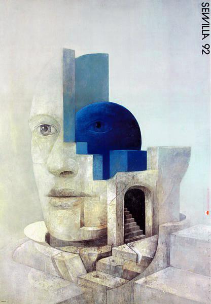"""Oryginalny polski plakat wystawowy wydany w 1992 r. z okazji Wystawy swiatowej w Sevilli  """"Expo Sevilla '92"""". Projekt plakatu: WIKTOR SADOWSKI"""