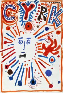 Oryginalny polski plakat cyrkowy przedstawiający na wpół abstrakcyjnego magika. Projekt plakatu: FRANCISZEK STAROWIEYSKI
