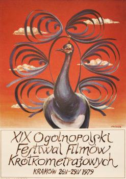 Oryginalny polski plakat reklamujący XIX Ogólnopolski Festiwal Filmów Krótkometrażowych