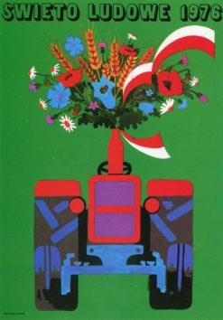 """Oryginalny polski plakat propagandowy """"Święto Ludowe 1976"""" . Projekt plakatu: WŁODZIMIERZ TERECHOWICZ"""