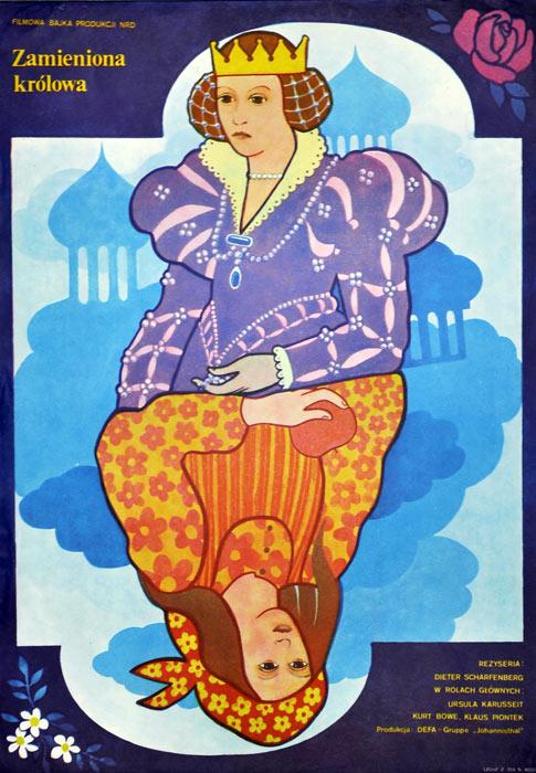 """Oryginalny polski plakat filmowy do filmu niemieckiego """"Zamieniona królowa"""" (mały format). Reżyseria: Dieter Schafenberg. Projekt: KRYSTYNA HOFFMAN-PĄGOWSKA"""