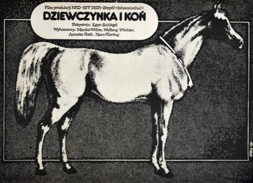 """Oryginalny polski plakat filmowy do filmu niemieckiego """"Dziewczyna i koń"""" (mały format). Reżyseria: Egon Schlegel. Projekt: JAKUB EROL"""