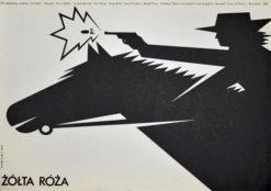 """Oryginalny polski plakat filmowy do filmu rumuńskiego """"Żółta róża"""" (mały format). Reżyseria: Doru Nastase. Projekt: MIECZYSŁAW WASILEWSKI"""