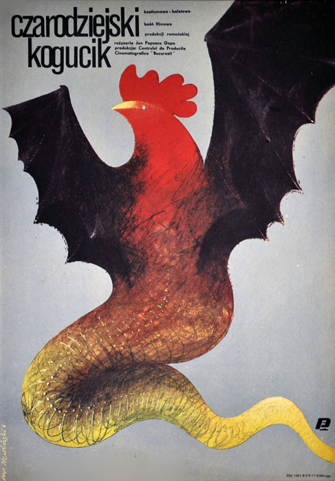"""Oryginalny polski plakat filmowy do filmu rumuńskiego """"Czarodziejski kogucik"""" (mały format). Reżyseria: Jon Popescu Gopo. Projekt: MARIAN NOWIŃSKI"""
