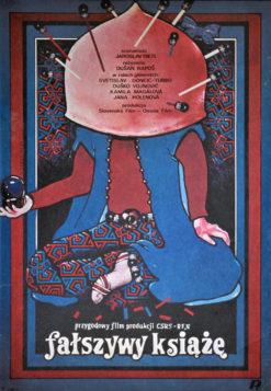 """Oryginalny polski plakat filmowy do filmu czechosłowackiego """"Fałszywy książę"""" (mały format). Reżyseria: Dusan Rapos. Projekt: WITOLD DYBOWSKI"""