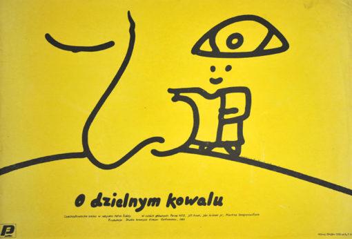 """Oryginalny polski plakat filmowy do filmu czechosłowackiego """"O dzielnym kowalu"""" (mały format). Reżyseria: Peter Sveda. Projekt: MIECZYSŁAW WASILEWSKI"""