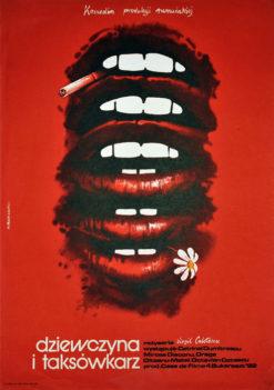 """Oryginalny polski plakat filmowy do filmu rumuńskiego """"Dziewczyna i taksówkarz """" (mały format). Reżyseria: Virgil Calotescu. Projekt: MAREK PŁOZA - DOLIŃSKI 1984."""